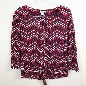 Lucky Brand | Red White and Blue Knotted Top sz S